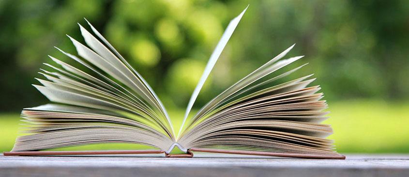 Aufgeschlagenes Buch auf Gartentisch